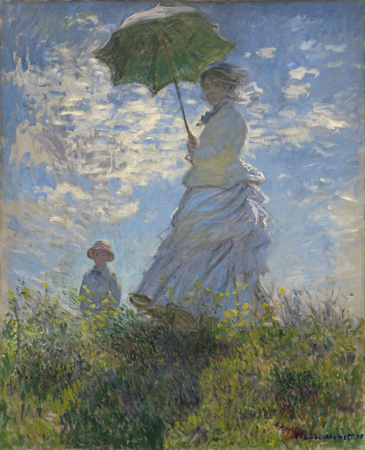 Claude Monet, 'Woman with a Parasol - Madame Monet and Her Son', 1875, Painting, Oil on canvas, National Gallery of Art, Washington, D.C.