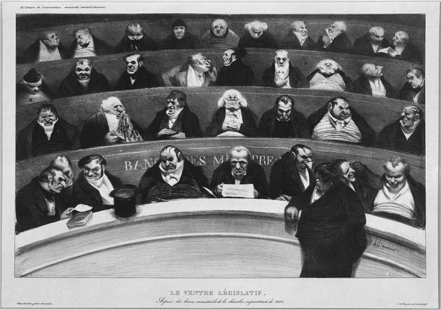 Honoré Daumier, 'Le Ventre Législatif. Aspect des bancs  ministériels de la chambre improstituée de 1834 (The Legislative Belly.  View of the ministerial benches in the improstituted house of 1834.)', ca. January 1834, Hammer Museum