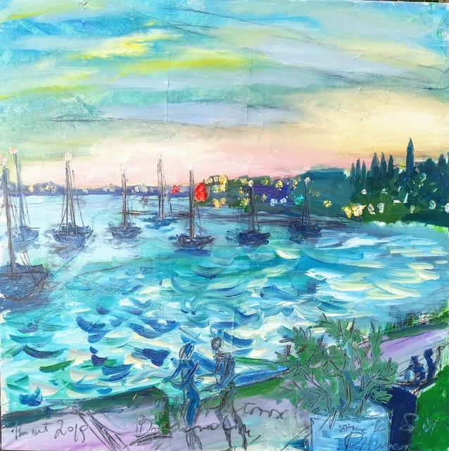 , 'Water paintings summer 2019 - plein air in situ paintings, Portorose, view to Bernardin, evening, dynamic sea.   ,' 2019, Noravision Gallery