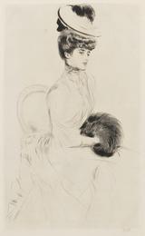 Madame Anlis avec manchon assise
