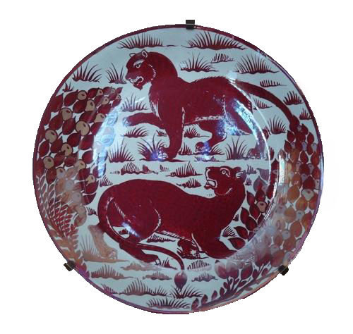 , 'Red Lustre Charger decorated with two Pumas,' ca. 1880, The Fine Art Society