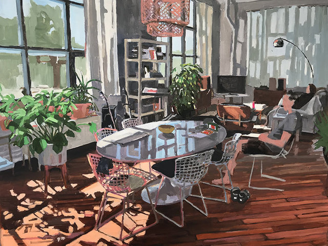 Aaron Hauck, 'Afternoon Living Room with Figures', 2018, Painting, Oil on panel, Deep Space Gallery