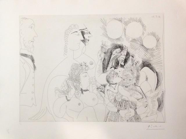 """Pablo Picasso, 'Serie 156 nº128 """"La fête de la patrone, fleurs et baisers, degas s'amuse""""', 1971, Galeria Joan Gaspar"""