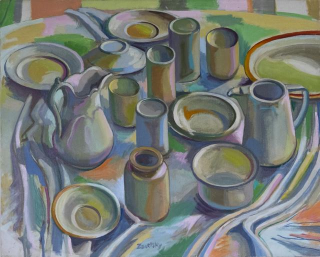 Sol Zaretsky, 'Table Top China In Blues & Greens ', ca. 1983, Stellars Gallery