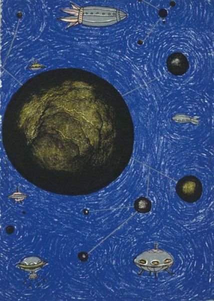 , 'Big Green Planets with Spaceships,' 2000, Tamarind Institute
