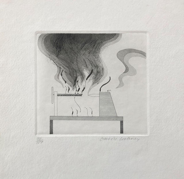 David Hockney, 'The Lathe and Fire', 1969, inch&cm