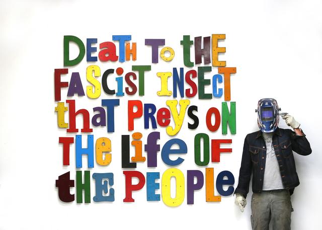 David Buckingham, 'Symbionese Liberation Army Slogan', 2017, Disruptive Canvas