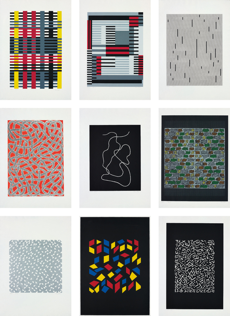 Anni Albers, 'Connections', 1925/1983, Print, The complete set of nine screenprints in colours, on Cartiere Miliani of Fabriano Umbria Italia and Fabriano Cotton papers, with full margins, with an introduction From the Line to the Texture by the publisher, the sheets loose (as issued), contained in original paper-covered cardboard portfolio with printed title, Phillips