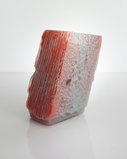 Thaddeus Wolfe, 'Unique Patterned Relief 28 vessel in celadon with opal orange interior hand-blown, cut and polished glass,' 2014, R & Company