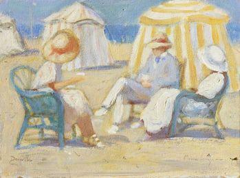 Trois personnages sur la plage de Deauville (Three Figures on Deauville Beach)