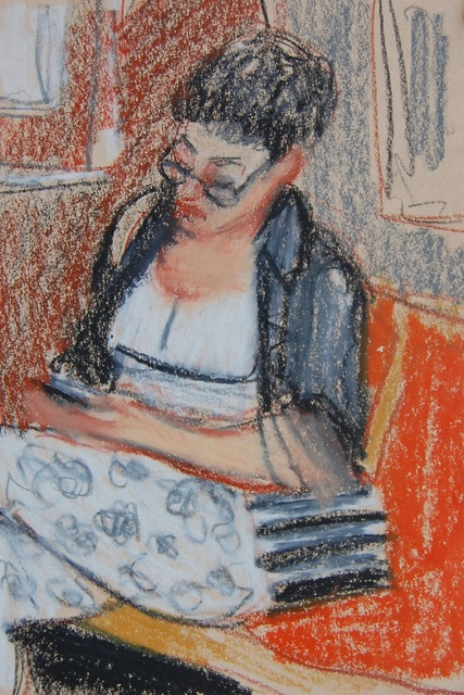 , 'Woman in Black and White Outfit with Glasses and Phone,' 2017, Ground Floor Gallery