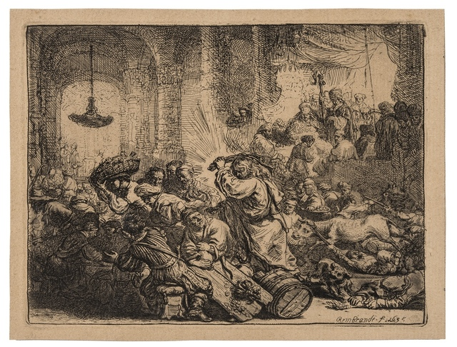 Rembrandt van Rijn, 'Christ driving the money changers from the temple', 1635, Forum Auctions
