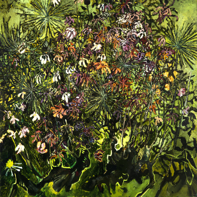 Rebecca Saylor Sack, 'Zinnias and Allium', 2017, Painting, Oil on canvas, J. Cacciola Gallery