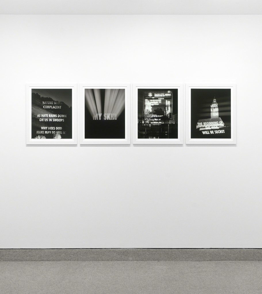 Jenny Holzer Edition for Bregenz 1983-1985; 1996; Cole, 2004 Set of four digital pigment prints Image size:  19 3/4 x 15 3/4 inches each  (50.2 x 40 cm each) Paper size:  21 7/8 x 17 3/4 inches each  (55.6 x 45.1 cm each) Edition 20 of 40 Signed and numbered on colophon page (Inventory #19588)