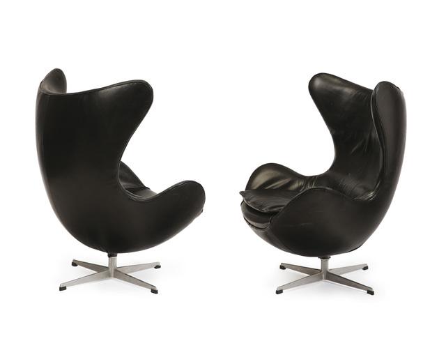 "Arne Jacobsen, 'A pair of Arne Jacobsen for Fritz Hansen ""Egg"" chairs', John Moran Auctioneers"