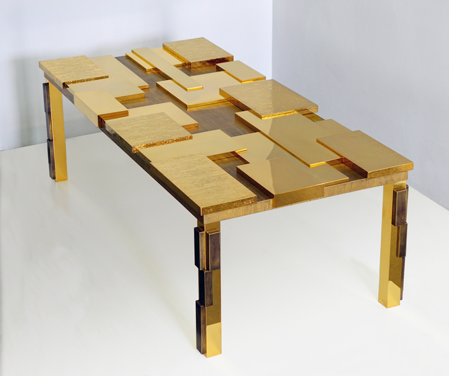 , 'Rectangular Cuspide Low Table with Facets in Gold  ,' , Garrido Gallery