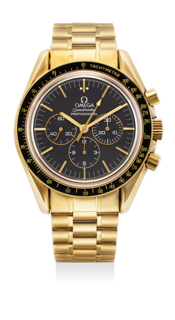 OMEGA, 'A fine and rare limited edition yellow gold chronograph wristwatch with bracelet, guarantee and box, numbered 772 of a limited edition of 999 pieces', 1992, Phillips