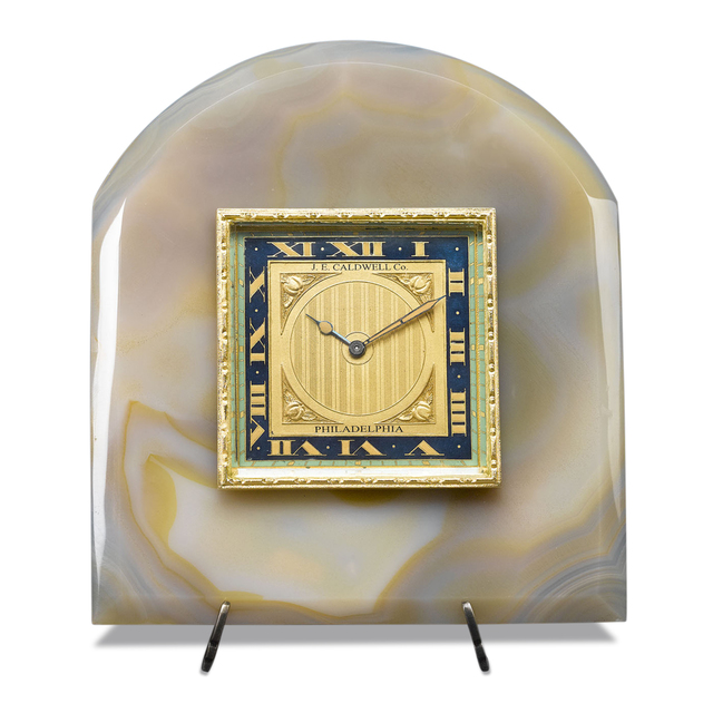 , 'ONYX & ENAMEL DESK CLOCK BY J.E. CALDWELL,' ca. 1920, M.S. Rau Antiques