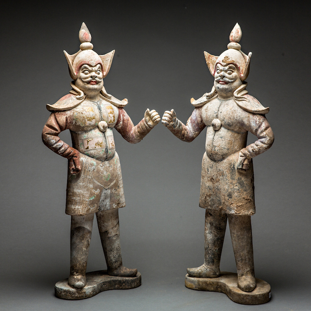 Unknown Chinese, 'Pair of Tang Painted and Gilt Terracotta Tomb Guardians', 618-906, Barakat Gallery