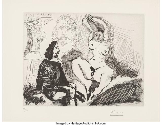 Pablo Picasso, 'Homme assis auprès d'une femme se coiffant, avec, derriàre, deux peintres, from La série 347', 1968, Heritage Auctions