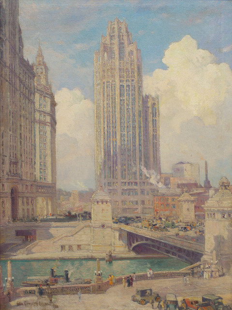 Colin Campbell Cooper, 'Tribune Tower and Wrigley Building', 1926, Richard Norton Gallery