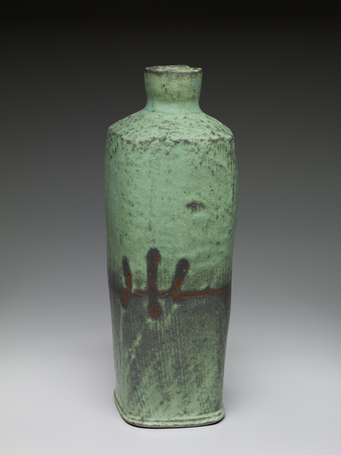 , 'Square vase, copper glaze with handprint resist,' , Pucker Gallery