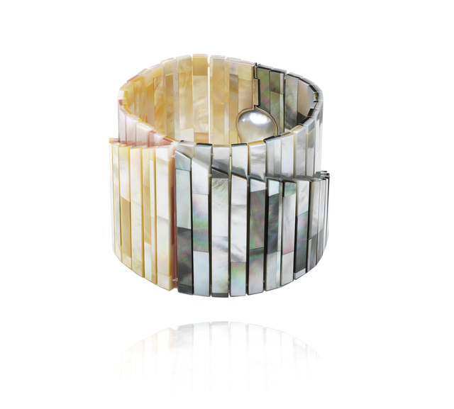 , 'Mother of Pearl Tile Double Bracelet  ,' 2016, Petronilla Silver