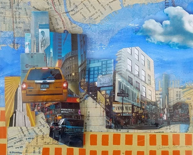 Arlene Solomon, 'Saturday in Times Square', 2015, Drawing, Collage or other Work on Paper, Mixed media photo collage, InLiquid