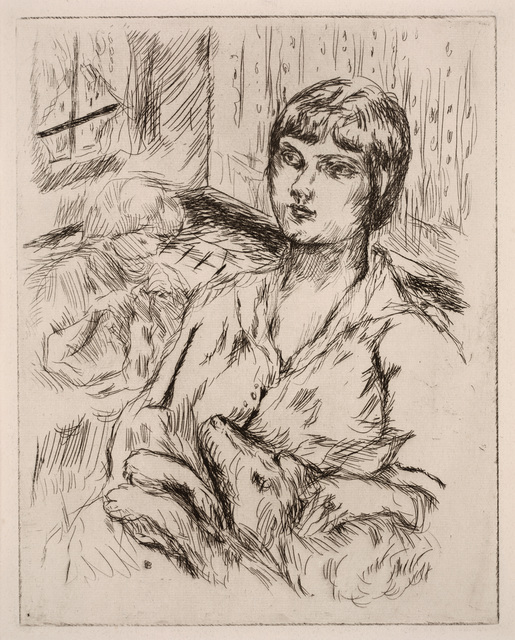 """Pierre Bonnard, 'Woman with Dog (La Femme au Chien) (illustration from """"Dingo"""" by Octave Mirbeau)', 1924, Print, Etching, Dallas Museum of Art"""