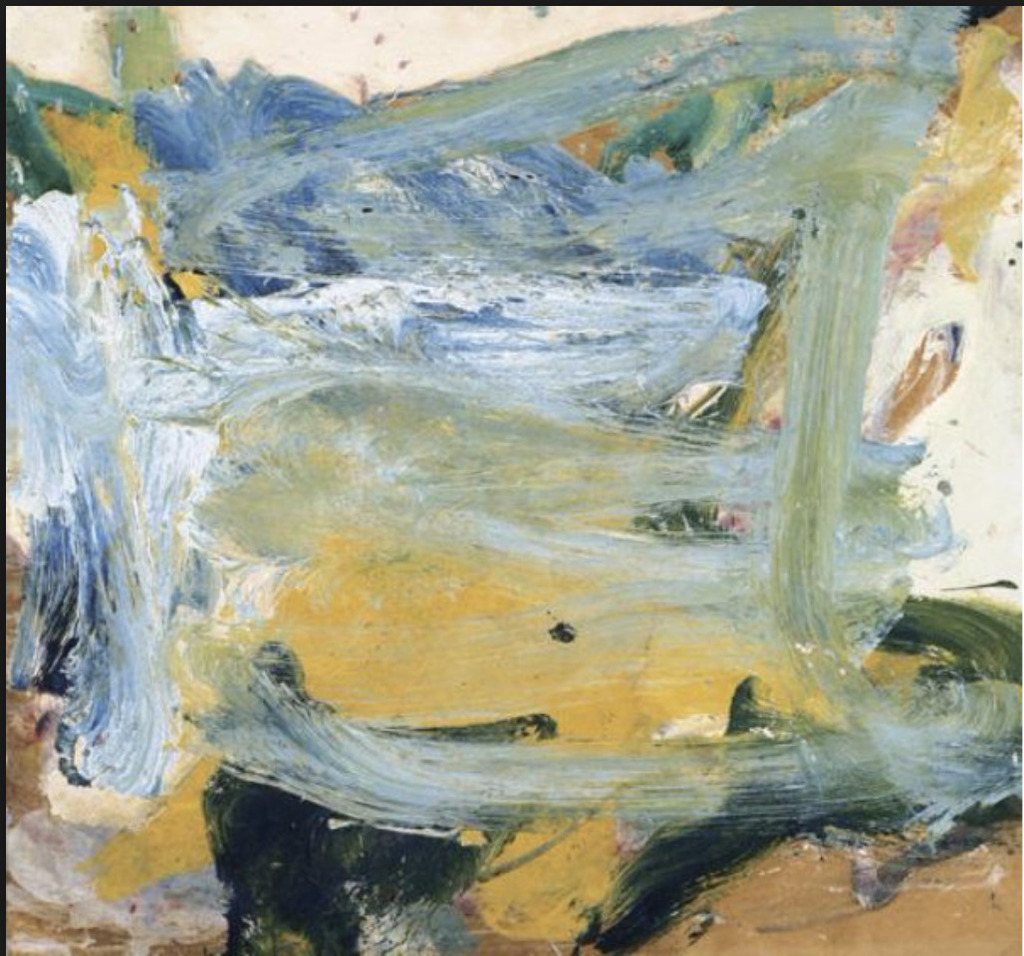 Willem De Kooning, Untitled (Blue, Yellow, Black and White Abstract Painting), 1967, Oil on Paper laid down on Canvas, 22 x 24 inches