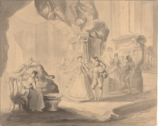 Luis Paret y Alcázar, 'Dance in a Palace', ca. 1770/1775, Drawing, Collage or other Work on Paper, Pen and black ink with gray wash over graphite and squared in graphite on laid paper, National Gallery of Art, Washington, D.C.