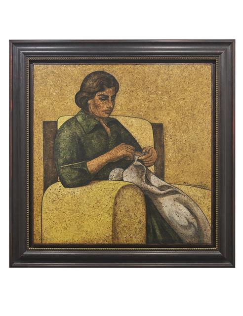 Louay Kayali, 'Woman Sewing', 1974, Barjeel Art Foundation