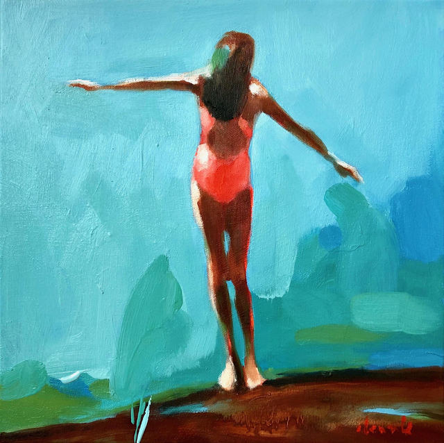 """Elizabeth Lennie, '""""Summer 2019-6"""" oil painting of girl standing in pink bathing suit with blue and green background ', 2019, Eisenhauer Gallery"""
