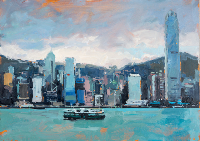 James Hart Dyke, 'Hong Kong and Star Ferry', 2014, Painting, Oil on board, DELAHUNTY