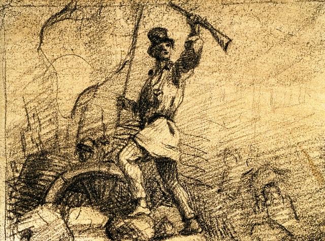 , 'Home en blouse debout sur une barricade (projet de frontispice pour Le Salut public),' 1848, Jeu de Paume