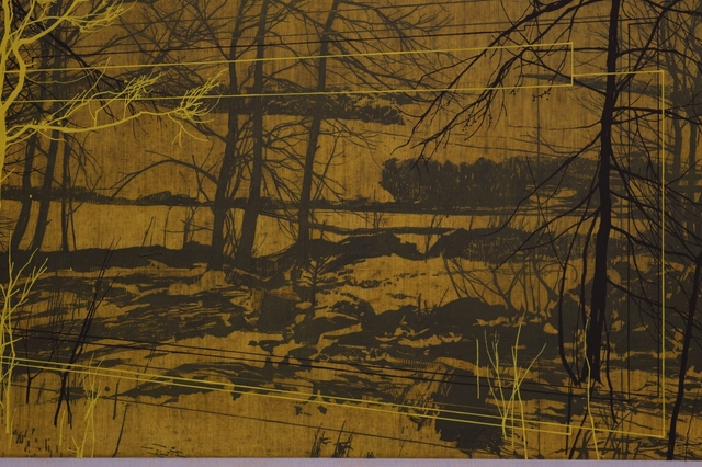 Andrew Mackenzie, 'Clearing (Flood Wall)', 2021, Painting, Oil on panel, &Gallery