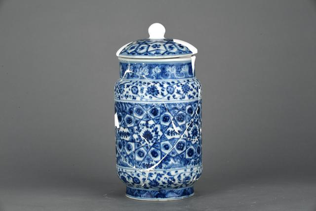 , 'Covered cylindrical jar with flower and brocade in blue and white,' Zhengtong to Tianshun, Ming Dynasty(1436, 1464), Art Museum of the Chinese University of Hong Kong