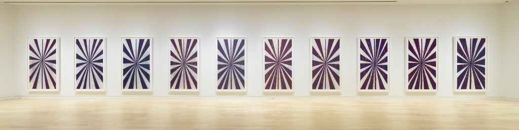 MARK GROTJAHN Untitled (Captain America Drawing in Ten Parts  41.17), 2008–09 Installation View Colored pencil on paper Each framed panel: 93 x 55 1/8 x 2 3/8 inches (236.2 x 140 x 6 cm) Artwork © Mark Grotjahn. Photography by Robert McKeever. Courtesy Gagosian Gallery.