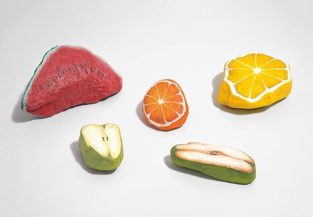 Nicolas Party, 'Five works: (i) Blakam's stone (watermelon); (ii) Blakam's stone (lemon); (iii) Blakam's stone (orange); (iv) Blakam's stone (pear); (v) Blakam's stone (apple)', 2012, Phillips