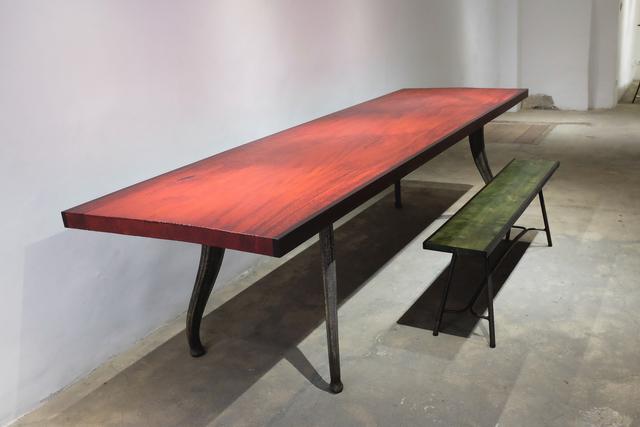 Nicolas Cesbron, 'Table', 2018, Design/Decorative Art, Plane tree gouged, stained red and bronze feet, Antonine Catzéflis