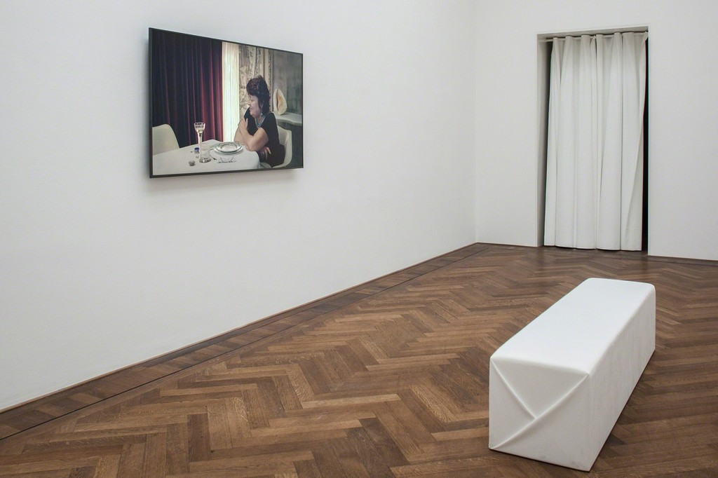 "Yuri Ancarani, installation view, ""Sculture,"" view on ""Séance,"" 2014, Kunsthalle Basel, 2018. 
