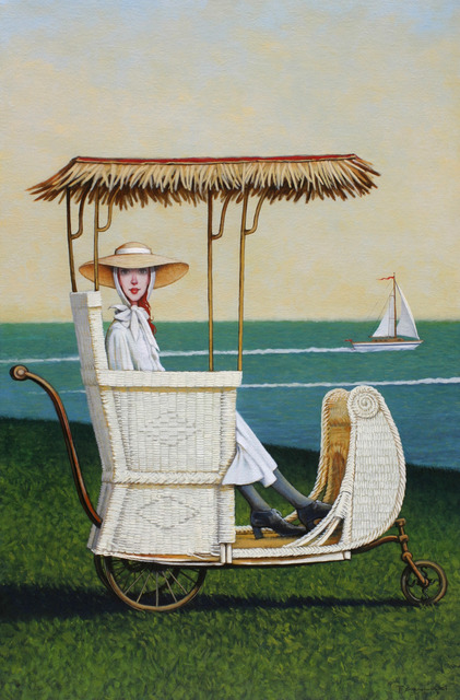 Fred Calleri, '''Regatta'' oil painting of a woman in a vintage white carriage with ocean view behind', 2019, Eisenhauer Gallery