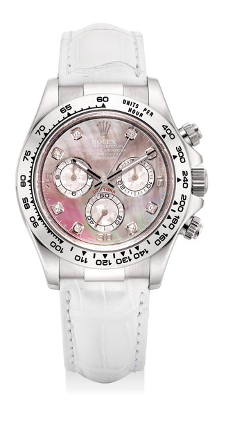 Rolex, 'A fine and rare white gold, meteorite, mother-of-pearl and diamond-set chronograph wristwatch with guarantee and box', Circa 2007, Phillips