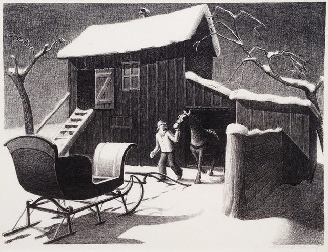 Grant Wood, 'December Afternoon', 1940, Print, Lithograph on wove paper., Catherine E. Burns Fine Prints