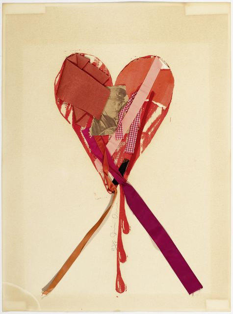 Jim Dine, 'Bleeding Heart with Ribbons and a Movie Star', 1968, Drawing, Collage or other Work on Paper, Colour screenprint with collaged picture, cloth and Paper, Koller Auctions