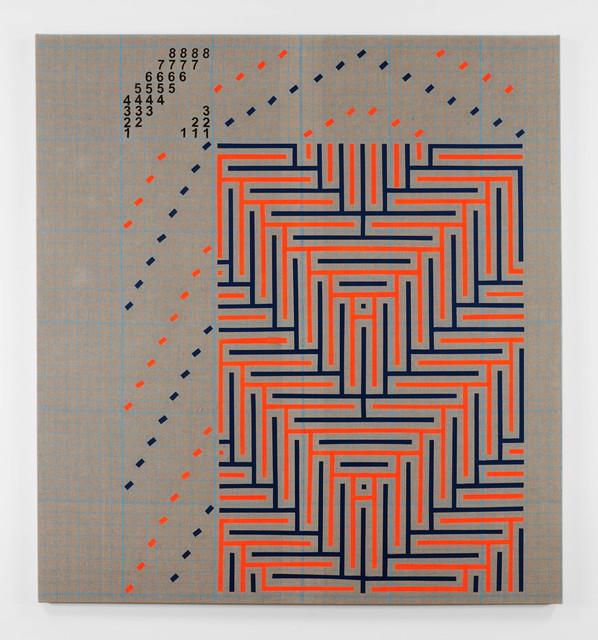 , 'Fluorescent Orange and Navy Blue Shadow Weaving Draft,' 2018, PRAZ-DELAVALLADE