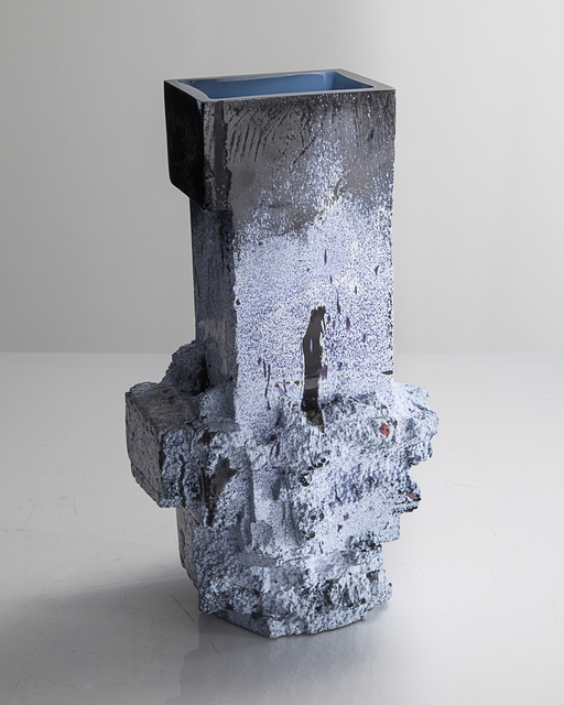 , 'Unique Assemblage vessel in mottled black and white and blue with azure blue interior hand-blown, cut and polished glass,' 2015, R & Company