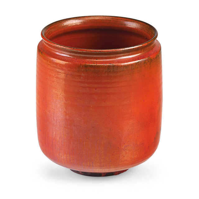 Gertrud Natzler, 'Straight-walled vessel, vivid orange glaze, Los Angeles, CA', 1960, Rago
