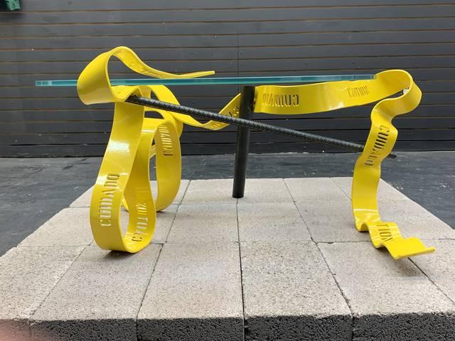 Gustavo Barroso, 'Caution Table', 2019, Textile Arts, Bent Steel, Rebar, Pipe, Starphire Glass, Wallplay