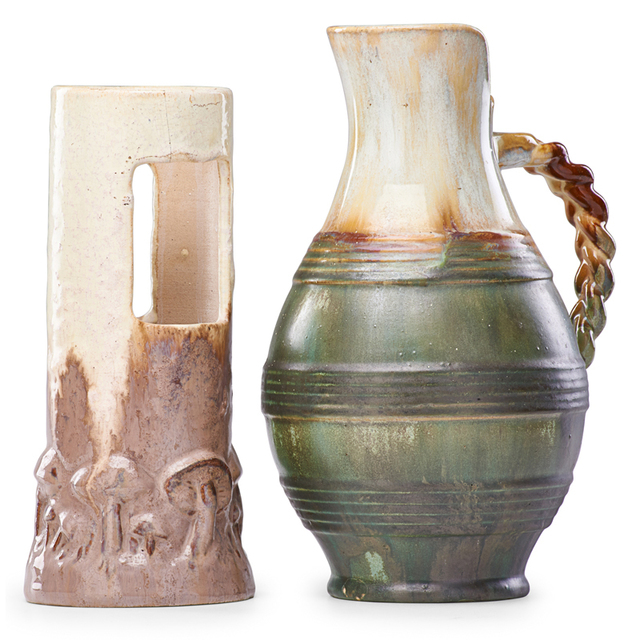 Fulper Pottery, 'Ikebana Vase In Elephant's Breath Glaze And Pitcher With Braided Handle In Flambé Glaze, Flemington, NJ', 1910s-20s, Rago/Wright